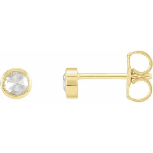 Bezel Set Rose Cut Diamond Solitaire Stud Earrings in 14k Gold