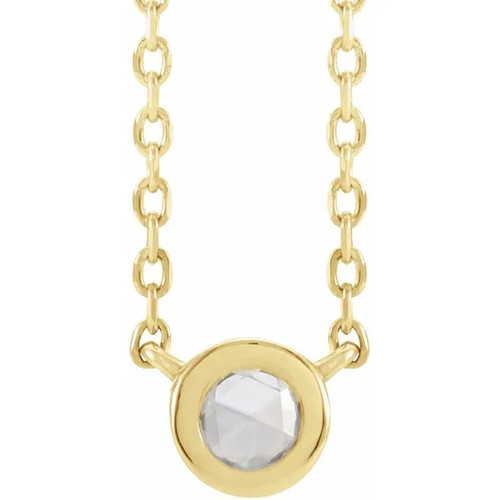 14k Yellow Gold Rose-Cut Diamond Solitaire Necklace