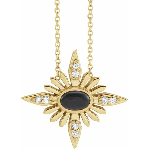14k Yellow Gold Onyx and Diamond Celestial Necklace with Adjustable Cable Chain