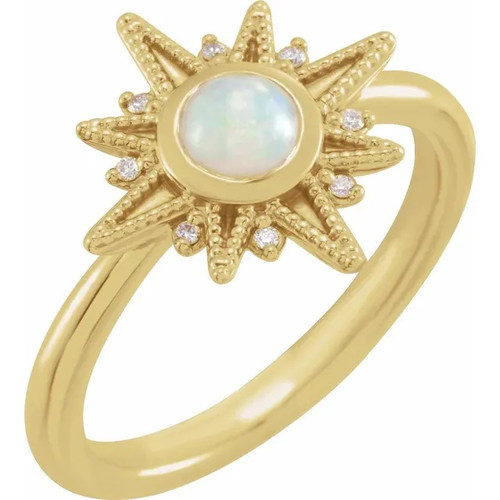 14k Yellow Gold Ethiopian Opal and Diamond Celestial Ring