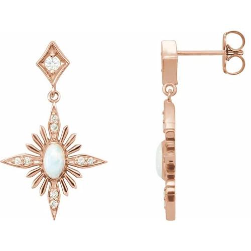 1k Rose Gold Australian Opal and Diamond Celestial Dangle Earrings