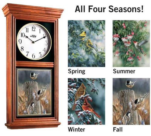 Oak Regulator Clock with Seasonal Birds Insert by Rosemary Millette