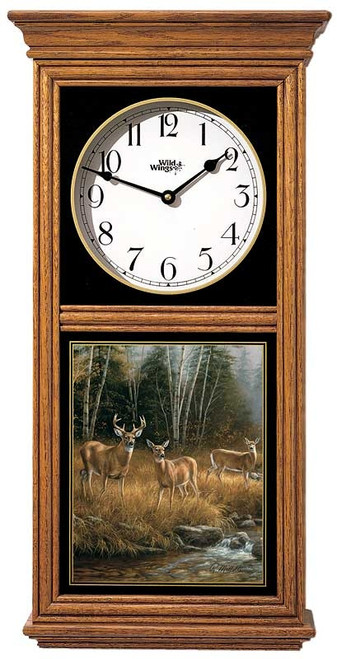 Oak Regulator Clock October Mist by Rosemary Millette