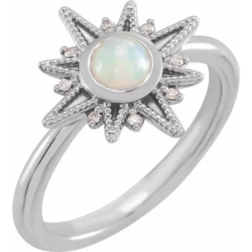 Ethiopian Opal and Diamond Celestial Ring in Sterling Silver