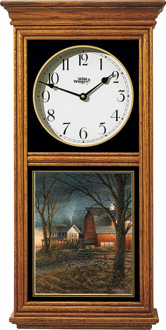 Country Neighbors Oak Regulator Clock by Terry Redlin