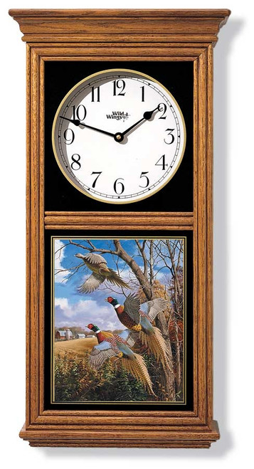 Pheasants Oak Regulator Clock by David A Maass