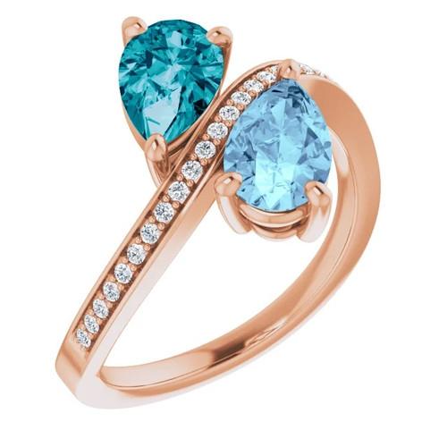 14k Rose Gold Aquamarine and London Blue Topaz Diamond Two-Stone Ring
