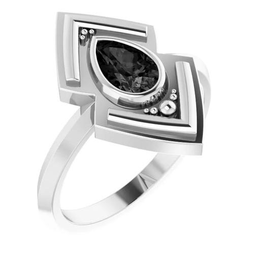 Sterling Silver Onyx Geometric Ring