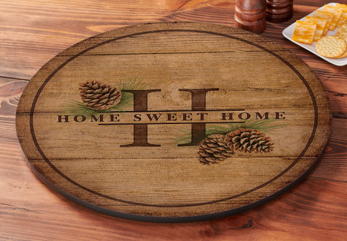 Home Sweet Home Pinecones Lazy Susan Turntable by Rosemary Millette