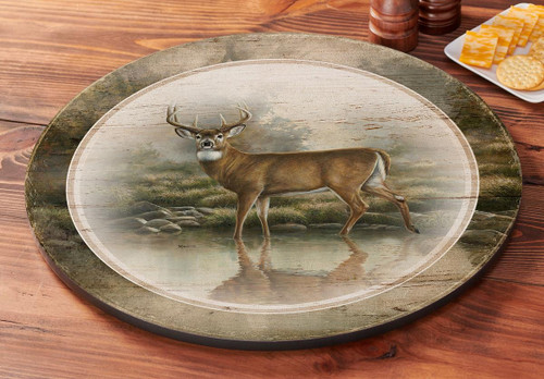 Deer Tranquil Waters Lazy Susan Turntable by Rosemary Millette