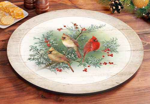 Happy Holidays Cardinals Lazy Susan by Catharine McClung