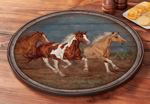 Modoc Run - Horses Lazy Susan Turntable by Chris Cummings