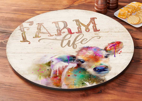 Farm Life - Calf Lazy Susan Turntable by Connie Haley
