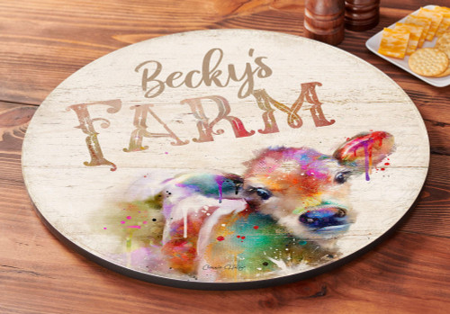 Splash Calf Personalized  Lazy Susan Turntable by Connie Haley