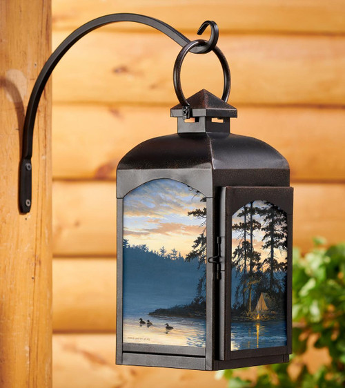 Loons Peace and Quiet Candle Lantern with black finish by Persis Clayton Weirs