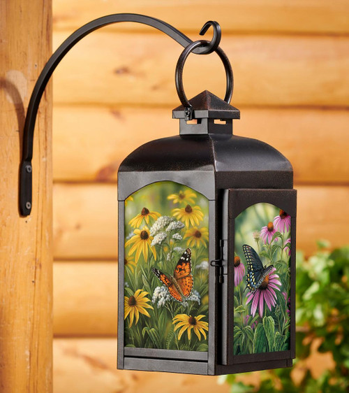 Butterflies Candle Lantern with black finish by Rosemary Millette