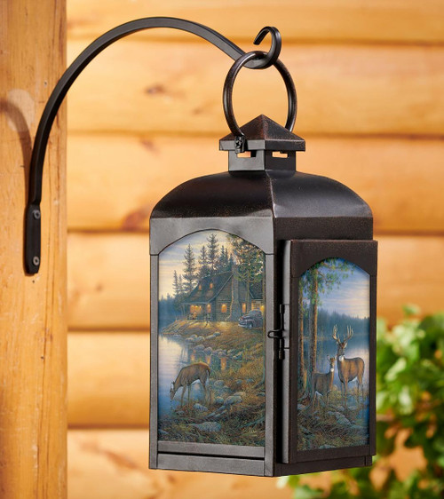 Quiet Places Deer Candle Lantern with black finish by Sam Timm