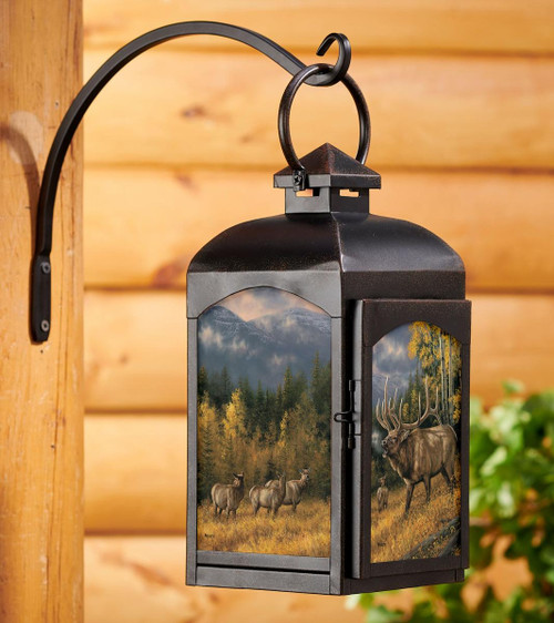 Elk Autumn Song Candle Lantern with black finish