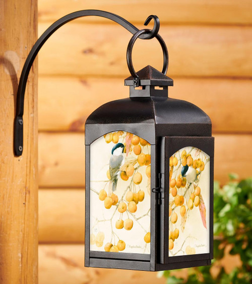 Chickadee and Crabapples Candle Lantern with black finish
