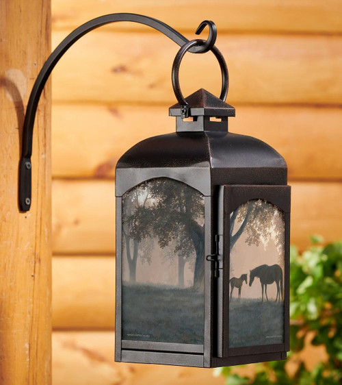 Dawn's Early Light - Horses Candle Lantern with black finish