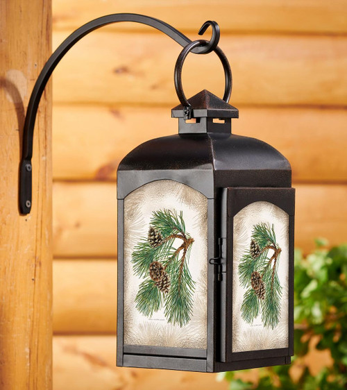 Pinecones Candle Lantern with black finish