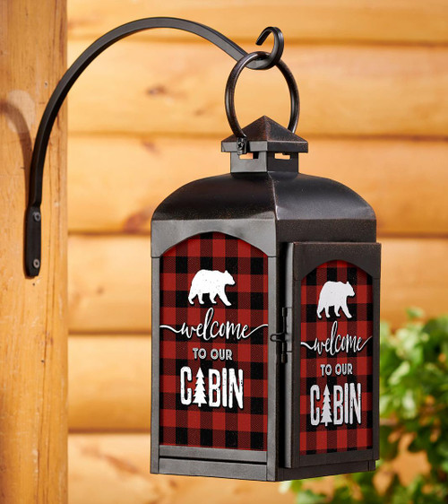 Welcome to Our Cabin Candle Lantern with black finish