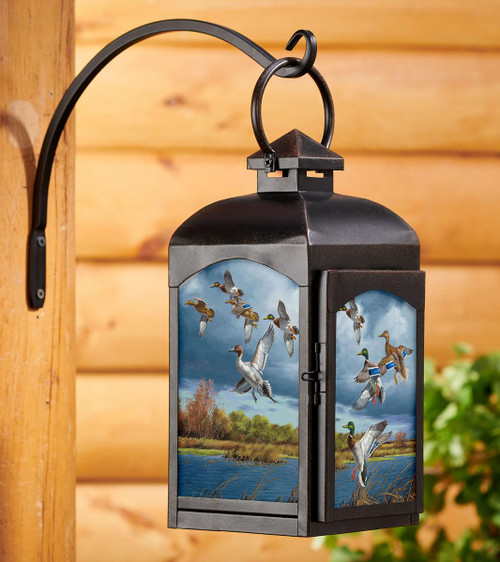 Mixed Getaway Mallards and Pintails  Candle Lantern with black finish