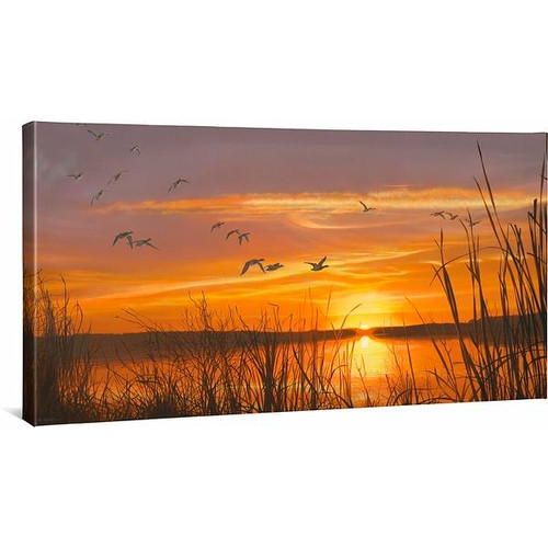 Sunset Silhouette Mallards Gallery Wrapped Canvas by Scot Storm