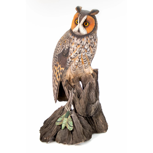 The Moth Hunter Owl Original Wood Carving by Jim Maas