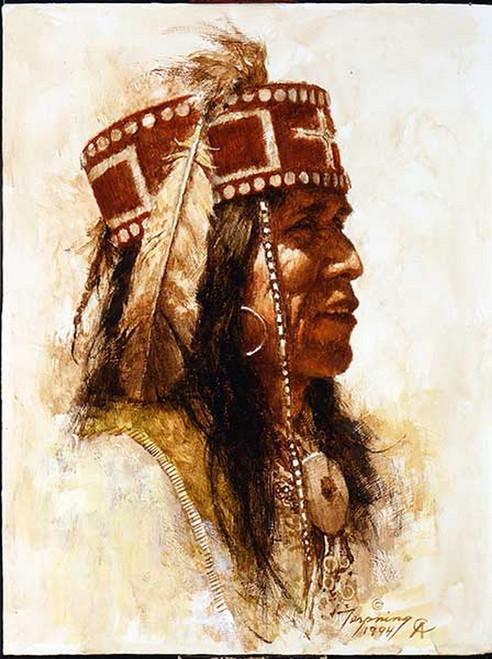 Mescalero Apache 1994 Portrait Series Giclée on Canvas by Howard Terpning