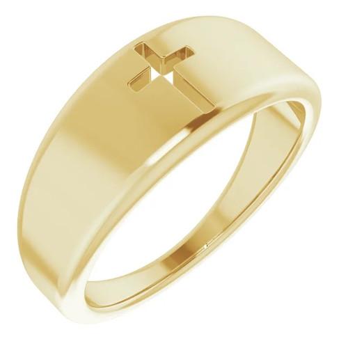 14k Yellow Gold Pierced Cross Ring