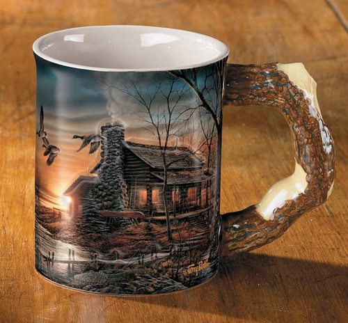 Golden Retreat - Cabin Set of 4 Sculpted Coffee Mugs with artwork by Terry Redlin
