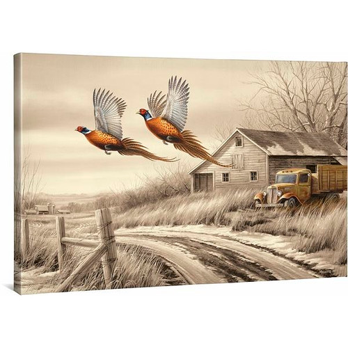 Weathered Memories - Pheasants Gallery Wrapped Canvas by Rosemary Millette
