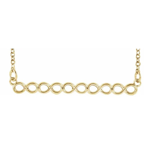 14k Yellow Gold Infinity Bar Necklace