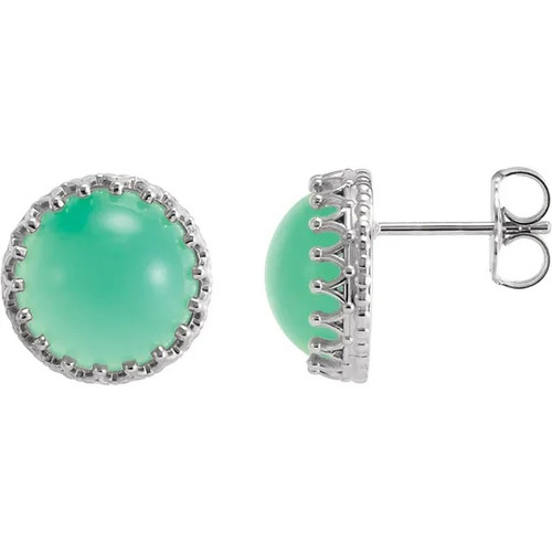 Sterling Silver Chrysoprase Crown Stud Earrings