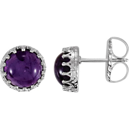Sterling Silver Amethyst Crown Stud Earrings