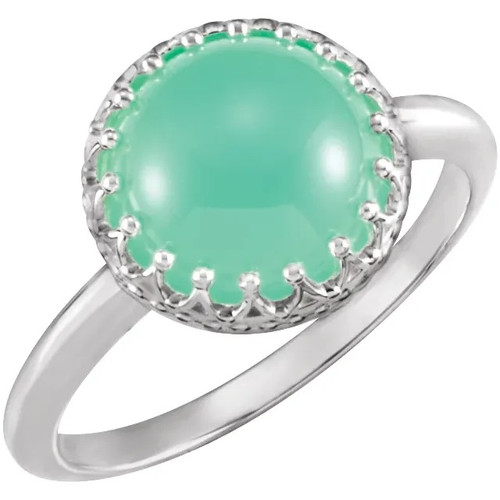 Sterling Silver Chrysoprase Crown Ring
