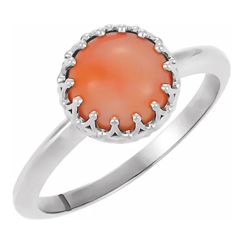 Sterling Silver Pink Coral Crown Ring