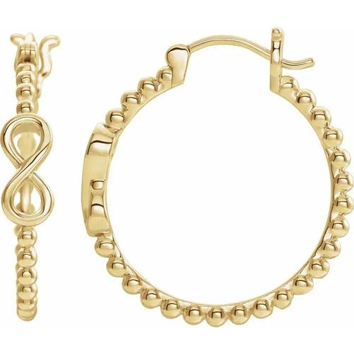 14k Yellow Gold Infinity Beaded Hoop Earrings