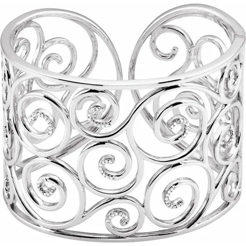 Sterling Silver 49.22 MM Diamond Filigree Scroll Cuff Bracelet