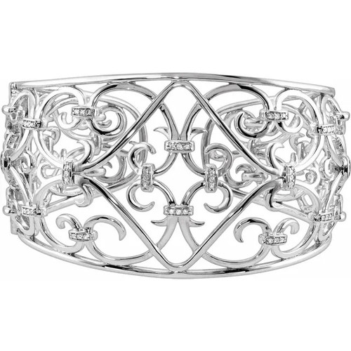 Sterling Silver 42.1 MM Diamond Filigree Scroll Cuff Bracelet