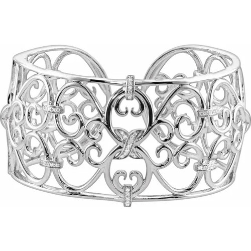 Sterling Silver 36 MM Diamond Filigree Cuff Bracelet