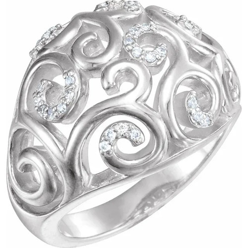 Sterling Silver Diamond Filigree Scroll Ring