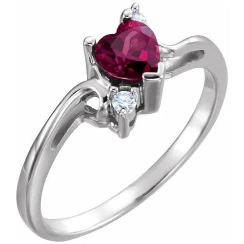 14k White Gold Heart-Shaped Rhodolite Garnet and Diamond Ring