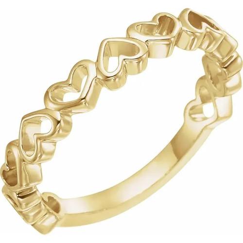 14k Yellow Gold Open Heart Band