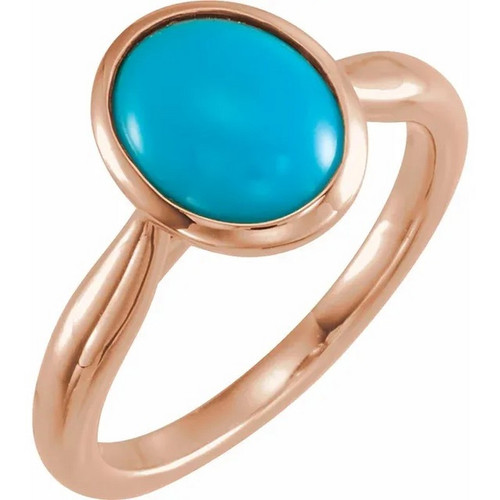 14k Rose Gold 12 x 10 Oval Turquoise Ring