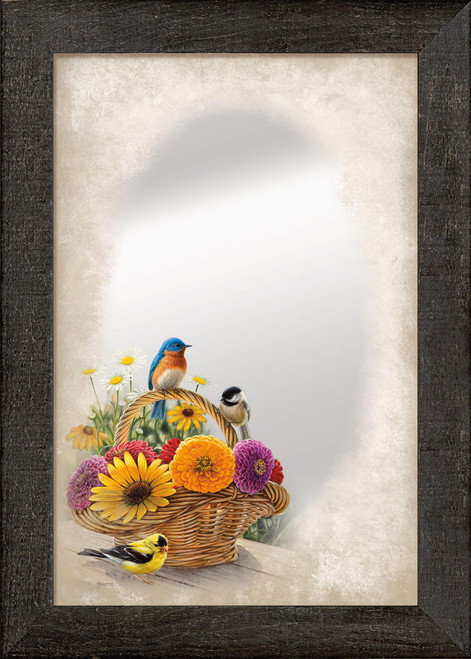 A Summer Bouquet Large Decorative Mirror by Rosemary Millette