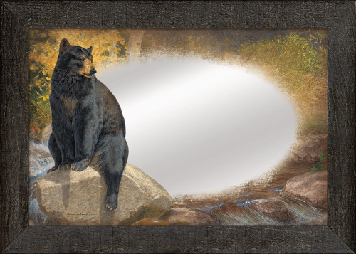 A Paw that Refreshes, Black Bear Large Decorative Mirror by Lee Kromschroeder