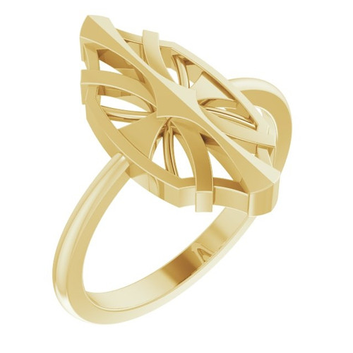 Geometric Ring in 14k Yellow, Rose or White Gold or Platinum