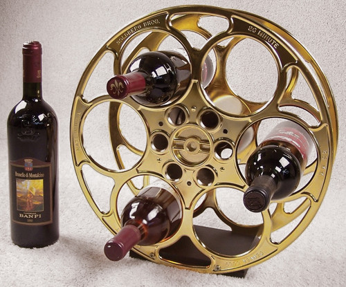 24k Gold-Plated Movie Reel Wine Rack